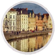 Ghent Waterfront Round Beach Towel