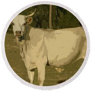 Ghost Cow 2 Round Beach Towel