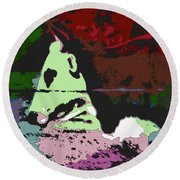 Ghost Cow Round Beach Towel