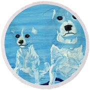 Ghost Dogs Round Beach Towel