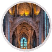 Ghost In The Cathedral Round Beach Towel by Adrian Evans