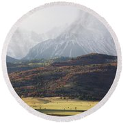 Ghost Mountains Round Beach Towel