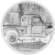 Ghost Of A Truck Round Beach Towel