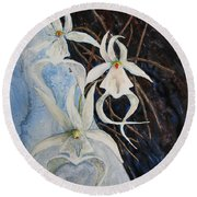 Ghost Orchid Blooming Round Beach Towel