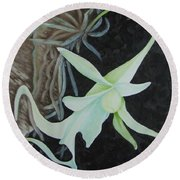 Ghost Orchid On A Palm Tree Round Beach Towel