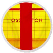 Ghost Station In Red And Yellow Round Beach Towel