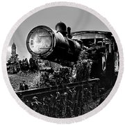 Ghost Train In Paranapiacaba - Locobreque Round Beach Towel