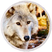 Ghost Wolf Round Beach Towel