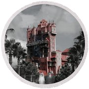 Ghostly At The Tower Round Beach Towel