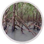 Ghostly Mangroves Round Beach Towel