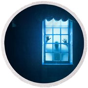 Ghostly Person At A Window Round Beach Towel
