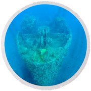 Ghostly Ship Wreck Round Beach Towel