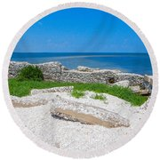 Ghosts In The Courtyard Round Beach Towel