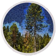 Giant Abstract Tree Round Beach Towel