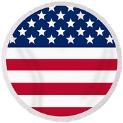 Giant American Flag Round Beach Towel by Ron Hedges