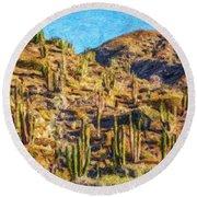 Giant Cordon Cactus Round Beach Towel