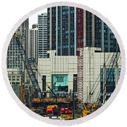 Downtown Chicago High Rise Construction Site Round Beach Towel