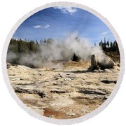 Giant Geyser Group Round Beach Towel