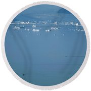 Giant Icebergs Drift In Open Water Round Beach Towel