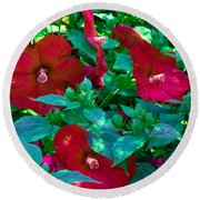 Giant Poppies Round Beach Towel