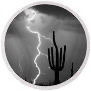 Giant Saguaro Cactus Lightning Strike Bw Round Beach Towel