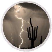 Giant Saguaro Cactus Lightning Strike Sepia  Round Beach Towel