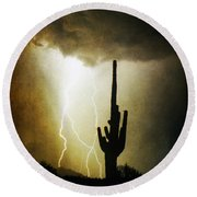 Giant Saguaro Lightning Spiral Fine Art Photography Print Round Beach Towel