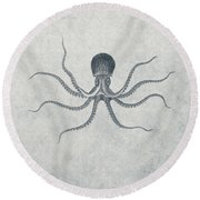 Giant Squid - Nautical Design Round Beach Towel by World Art Prints And Designs