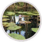Giant Water Lilies Round Beach Towel