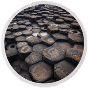 Giant's Causeway Pillars Round Beach Towel