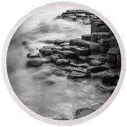 Giant's Causeway Waves  Round Beach Towel