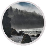 Giants In The Fog Round Beach Towel by Adam Jewell
