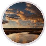 Gibbon River Yellowstone Round Beach Towel