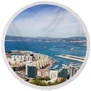 Gibraltar City And Bay Round Beach Towel