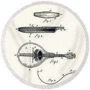 Gibson Mandolin Patent 1898 Round Beach Towel