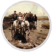 Giddy Up Round Beach Towel by Alfred von Wierusz-Kowalski