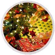 Gifts Under Christmas Tree Round Beach Towel by Elena Elisseeva