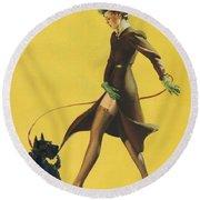 Gil Elvgren's Pin-up Girl Round Beach Towel