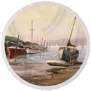Gillingham Pier On The Medway Round Beach Towel