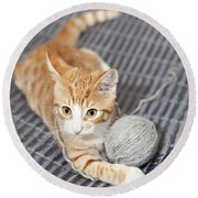 Ginger Cat With Yarn Ball Round Beach Towel