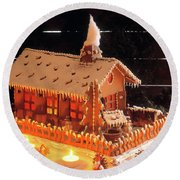 Gingerbread House, Traditional Round Beach Towel