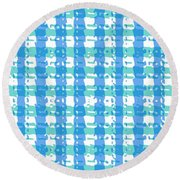 Gingham Glyphs Round Beach Towel