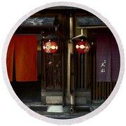 Gion Geisha District Doorways Round Beach Towel
