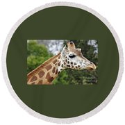Giraffe Beauty Round Beach Towel