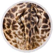 Giraffe Butt Round Beach Towel by Adam Romanowicz