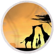 Giraffe Family Love Two Kids Round Beach Towel