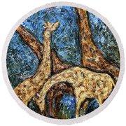 Giraffe Family Round Beach Towel