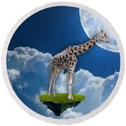 Giraffe Flying High Round Beach Towel