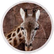 Giraffe Head Round Beach Towel
