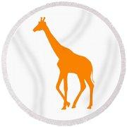 Giraffe In Orange And White Round Beach Towel